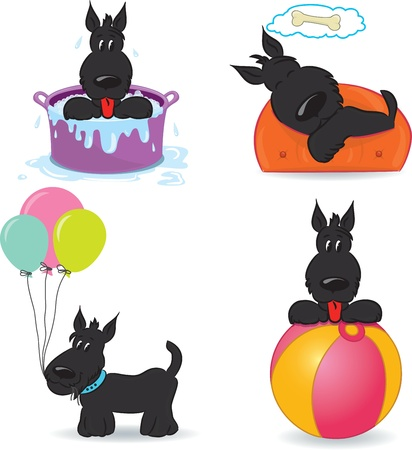 A set of funny dogs  Isolated on white  Vector illustration Vector
