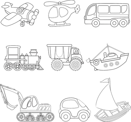 Cartoon transport  Coloring book  Vector