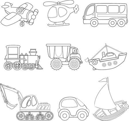 road runner: Transporte Cartoon Coloring Book Vectores