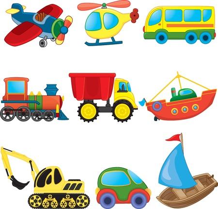 toy boat: Cartoon transport  Vector set Illustration