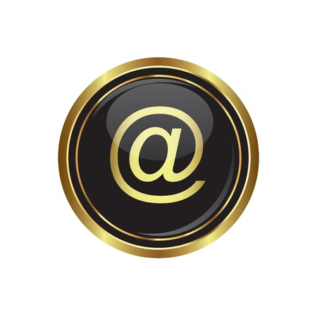 e  mail: E mail icon on the black with gold round button  illustration