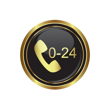support center: Support center call 24 hours icon on the black with gold round button  illustration