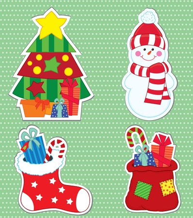 Christmas stickers  illustration Vector
