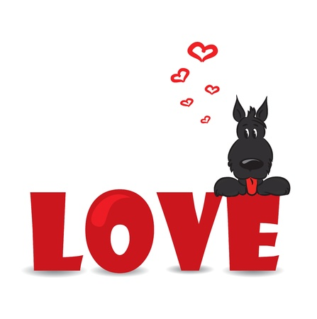Funny dog sitting on the red word  love -ve ctor illustration Stock Vector - 16855200