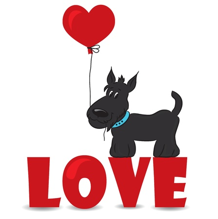 Dog with the heart on the red word  love -ve ctor illustration Vector