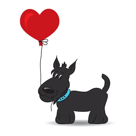 Dog with the heart balloon  illustration Vector