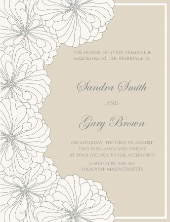 date of birth: Wedding invitation floral card