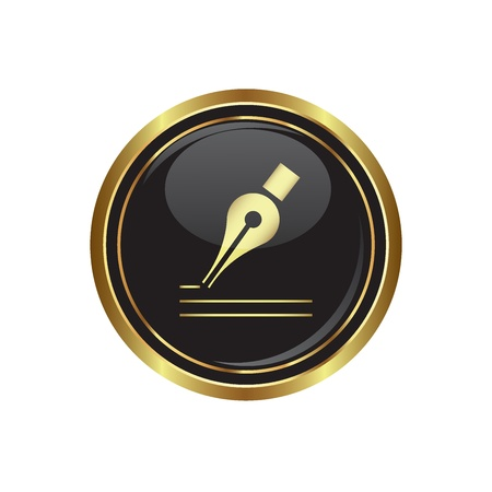 Ink pen icon on black with gold button  illustration Vector