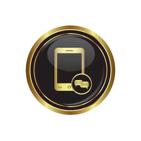 oft: Phone icon with chat menu on the black with gold round button  illustration Illustration