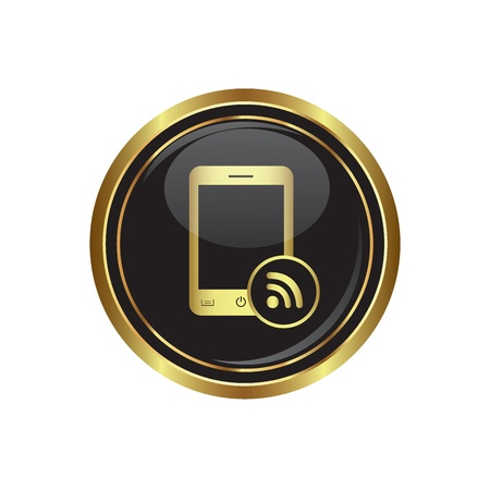 Phone with rss icon on the black with gold round button  illustration Stock Vector - 16855212