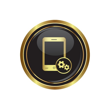 Phone icon with settings menu on the black with gold round button  illustration Stock Vector - 16855334
