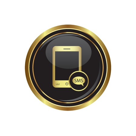 oft: Phone icon with sms menu on the black with gold round button  illustration