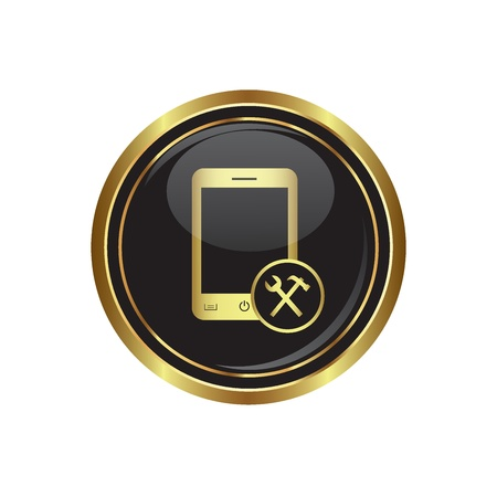 fitter: Phone icon with tools menu on the black with gold round button  illustration