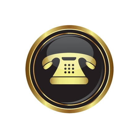 long distance: Telephone icon on the black with gold round button  illustration Illustration