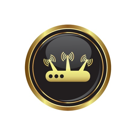 oftware: Router icon on the black with gold round button  illustration