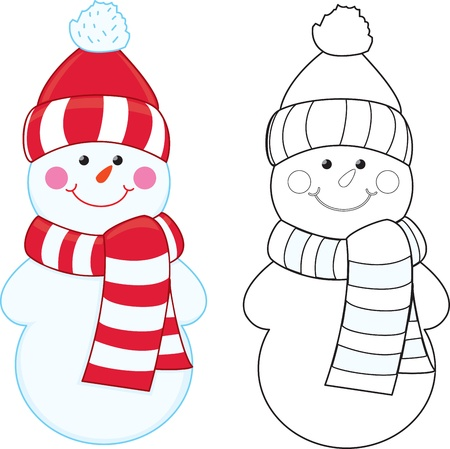 coloring pages: Cartoon snowman  Coloring book  Illustration