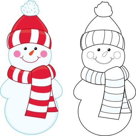 bolas de nieve: Mu�eco de nieve de dibujos animados para colorear libro