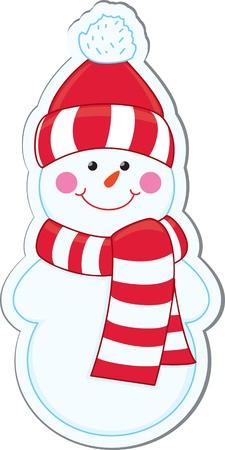 boule de neige: Autocollant de bonhomme de neige de bande dessinée