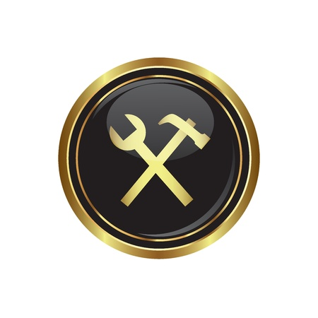 Tool icon on the black with gold round button  illustration Vector