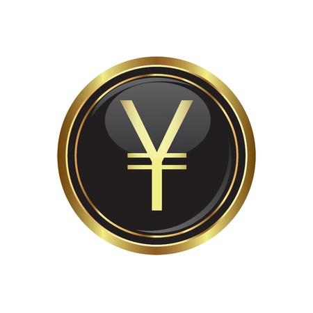international sales: Yen icon on black with gold button  illustration