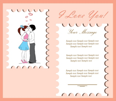 Boy and girl kissing The card for Valentine s Day,the background Vector