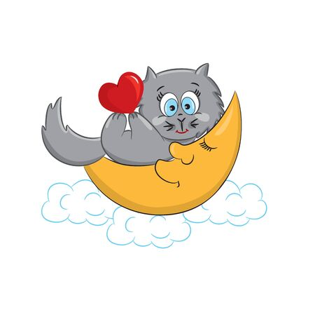 A cute cat with heart lying on the moon  Vector