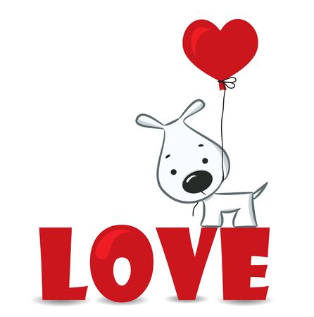 Dog with the heart on the red word  love  vector illustration Vector