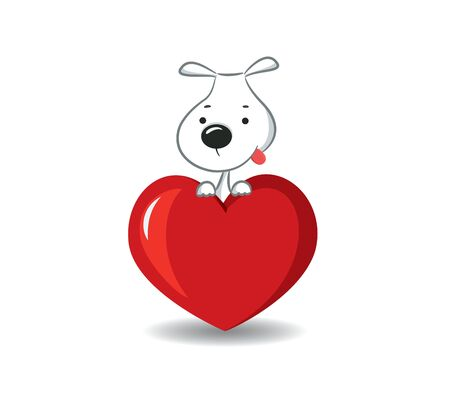 dog rose: A funny dog sitting on the red heart