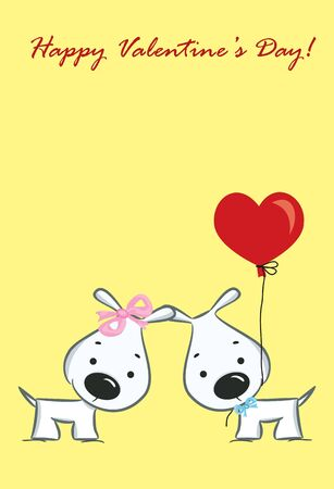 dog rose: The cute card for Valentine s Day, the background Illustration