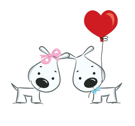 Funny dogs  couple Vector