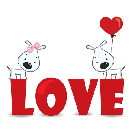 dog rose: Funny dogs  couple on the red word  love -ve ctor illustration