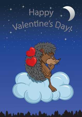 Cartoon hedgehog with hearts flying on the cloud  The cute card for Valentine s Day, the background Stock Vector - 17211393