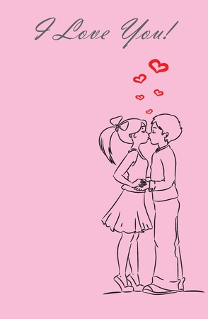 lucky man: Boy and girl kissing  Love card  The background