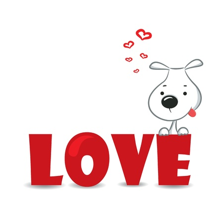 Funny dog sitting on the red word  love  vector illustration Vector