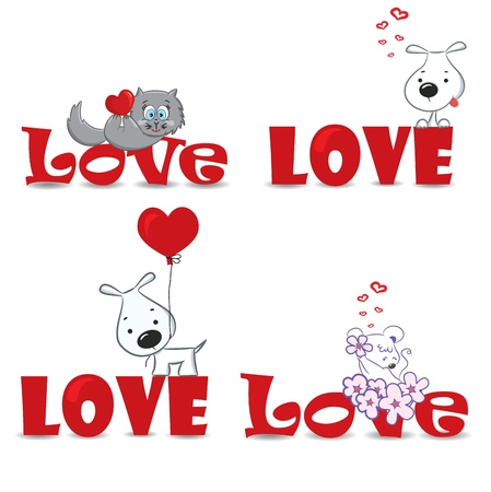 A set of funny animals on the red word  love  Vector