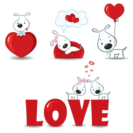 dog rose: A set of funny dogs with hearts  Illustration