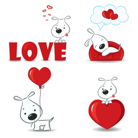 A set of funny dogs with hearts  Ilustrace