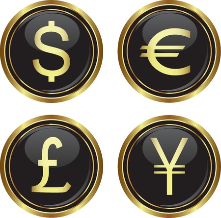 international sales: Dollar, euro, yen and pound icons