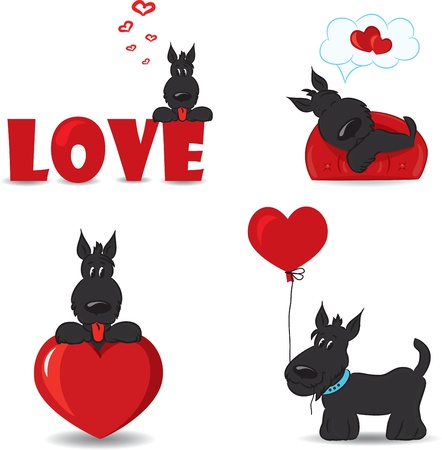 Funny dogs with hearts Vector illustration  Vector