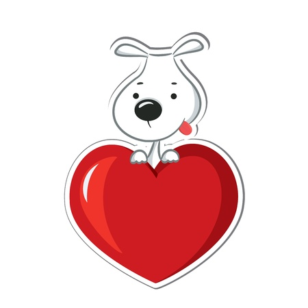 sticker vector: A funny dog sitting on the red heart  Sticker  Vector illustration