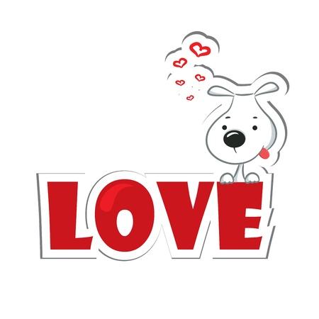 dog days: Funny perro sentado en la palabra amor ilustración vectorial Etiqueta roja Vectores