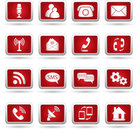phone button: Communication icons  Vector illustration