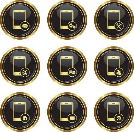 Set of phone icons with different menu on the black with gold round button  Vector illustration Stock Vector - 17220756