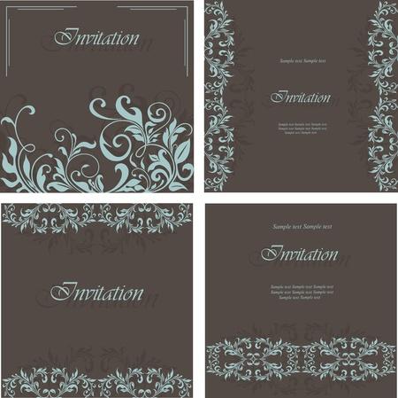 card design: Set of floral invitation cards  Illustration