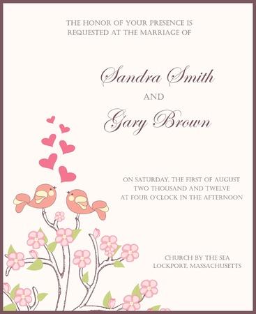 invitacion fiesta: Invitaci�n de la boda con dos p�jaros en amor ilustraci�n vectorial Vectores