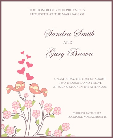 Wedding invitation with two birds in love  Vector illustration