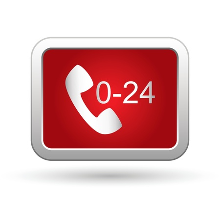 24 hour: Support center call 24 hours icon  Vector illustration