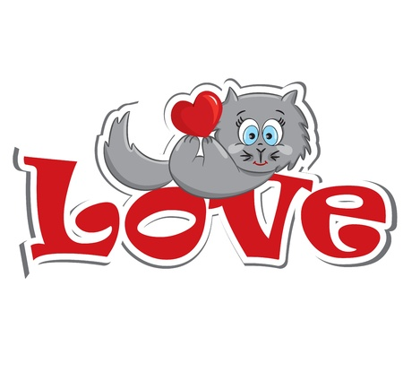gray cat: Cat with the heart lying on the red word  love   Sticker  Vector illustration