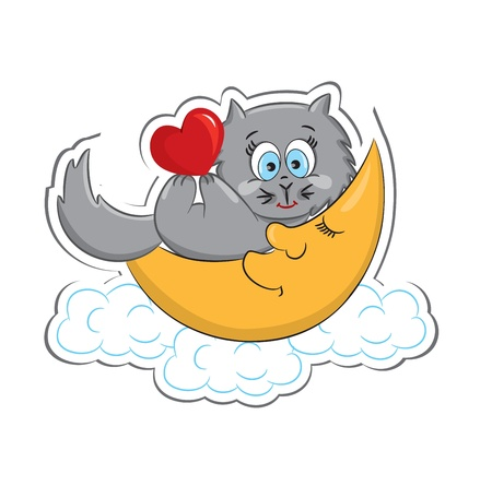 roses and hearts: A cute cat with heart lying on the moon  Sticker  Vector illustration Illustration