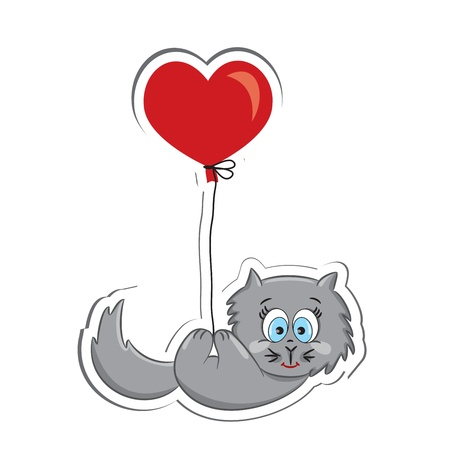grey cat: Cat with heart balloon  Sticker  Vector illustration